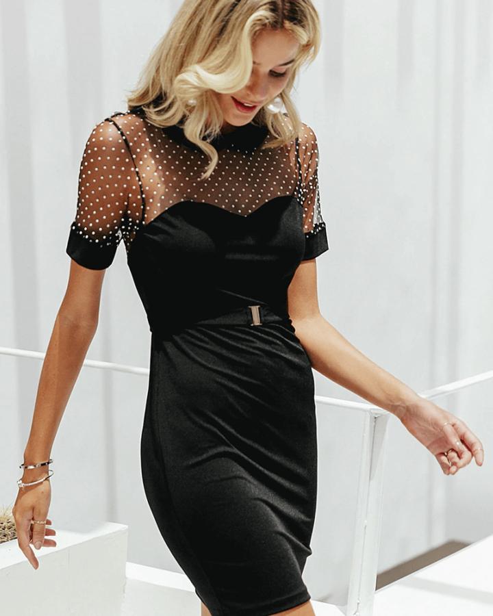 Sukienka Czarna z Krótkim Rękawem Mini