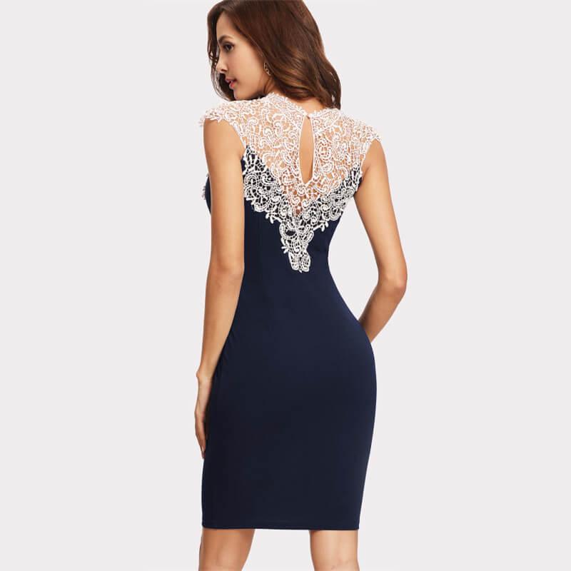 Sukienki Koktajlowa Granatowa Koronkowa Bez Rękawów Mini