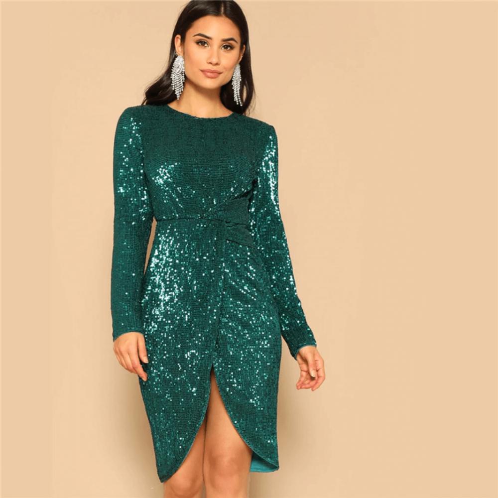 Sukienka Zielona Szmaragdowa w Cekiny z Długim Rękawem Mini