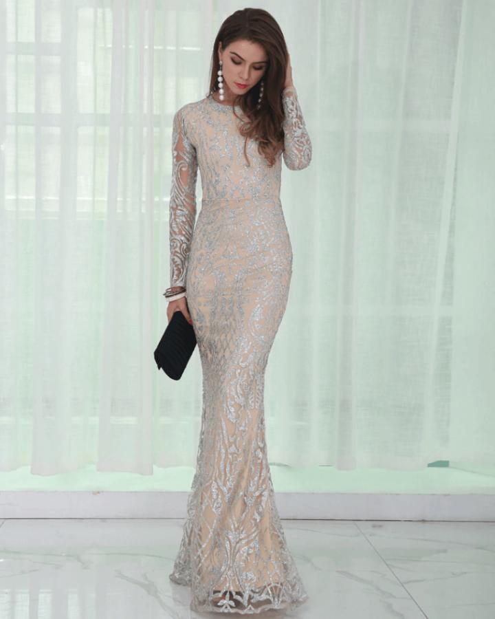 Sukienka w Cekiny z Brokatem z Długim Rękawem Maxi
