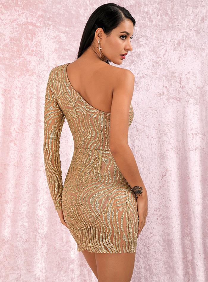 Sukienka Asymetryczna Pomarańczowa Brokat Mini