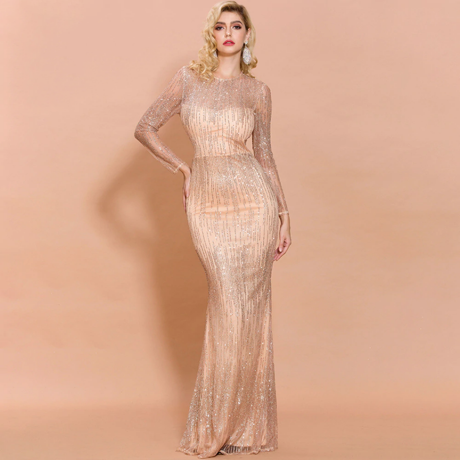 Sukienka Beżowa Ecru w Cekiny Długa Maxi