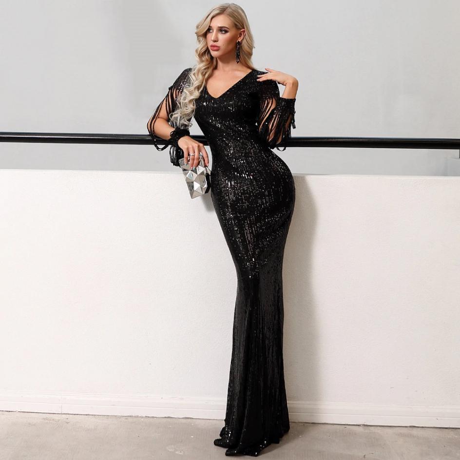 Secret Wish Boutique Sukienka Czarna w Cekiny Długa Maxi