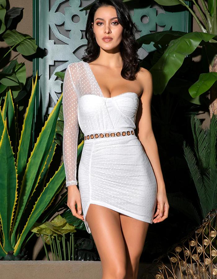 Sukienka Asymetryczna Biała Tiulowa Mini.