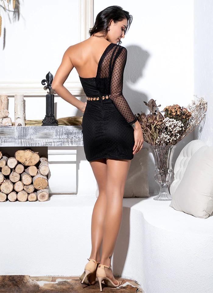 Sukienka Asymetryczna Czarna Tiulowa Mini
