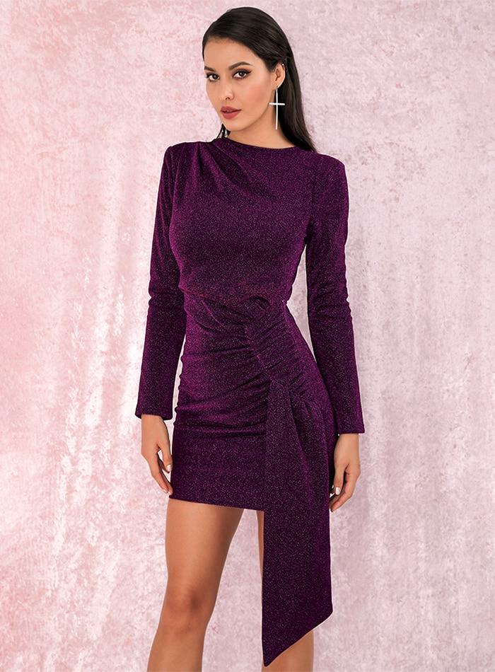 Sukienka Fioletowa Błyszcząca z Długim Rękawem MIni
