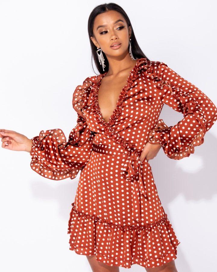 Sukienka Pomarańczowa w Kropki z Długim Rękawem Mini