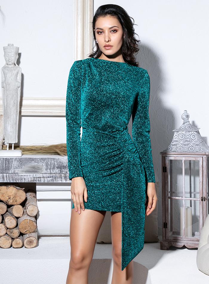 Sukienka Szmaragdowa Zieleń z Długim Rękawem Mini