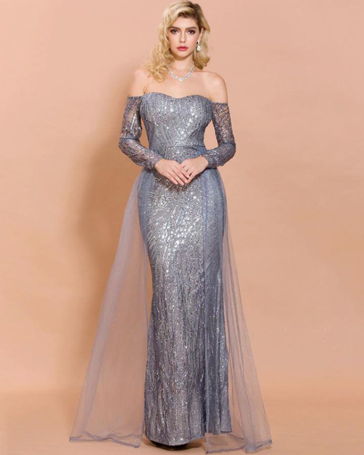 Sukienki Celebrytek Sukienka Wizytowa Szara Stalowa Odsłonięty Dekolt Max