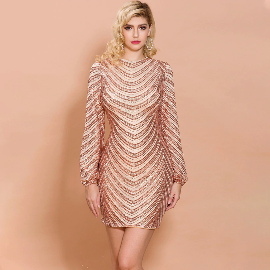 Sukienka Złota w Cekiny z Długim Rękawem Mini
