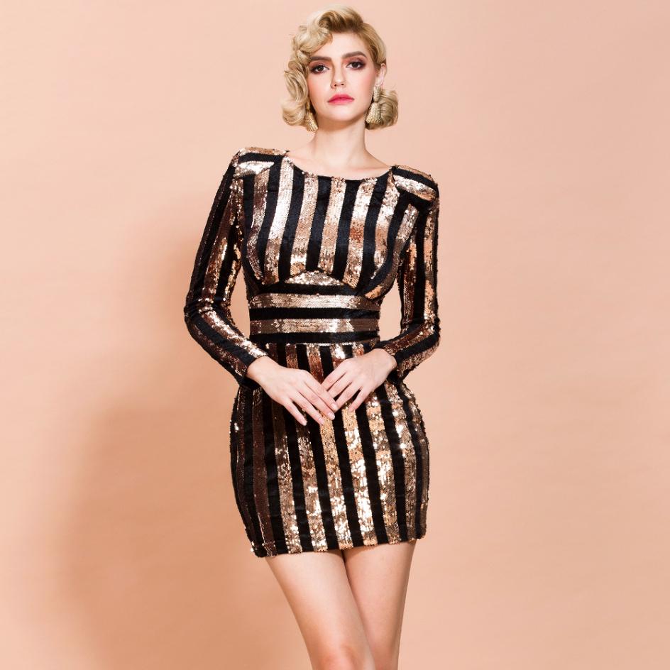 Sukienka Złote Czarne Cekiny z Długim Rękawem Mini