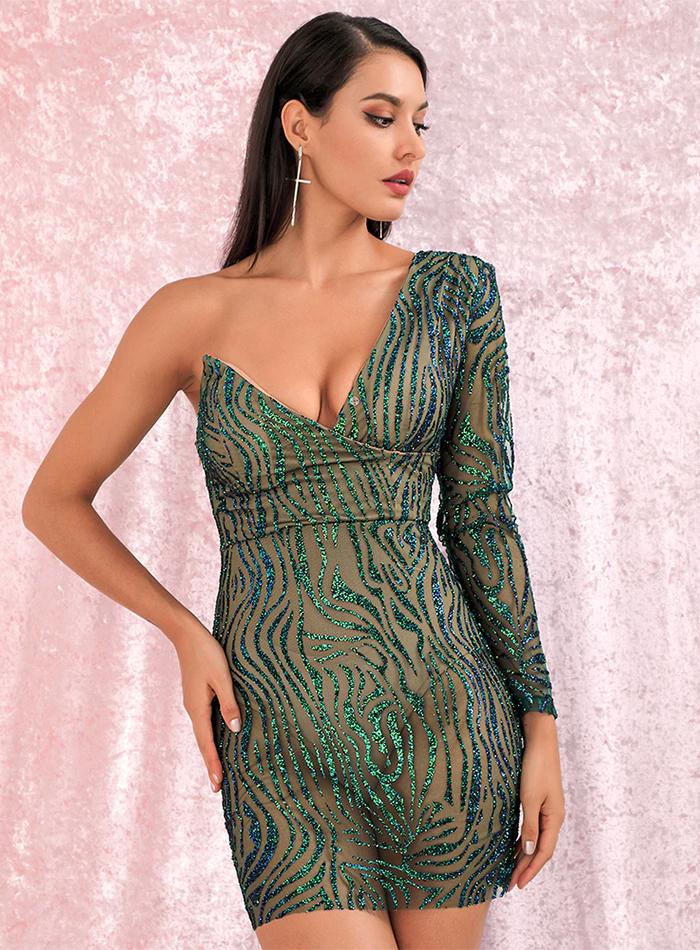 Sukienki Celebrytek Sukienka Zielona Szmaragdowa z Brokatem Asymetryczna Mini.