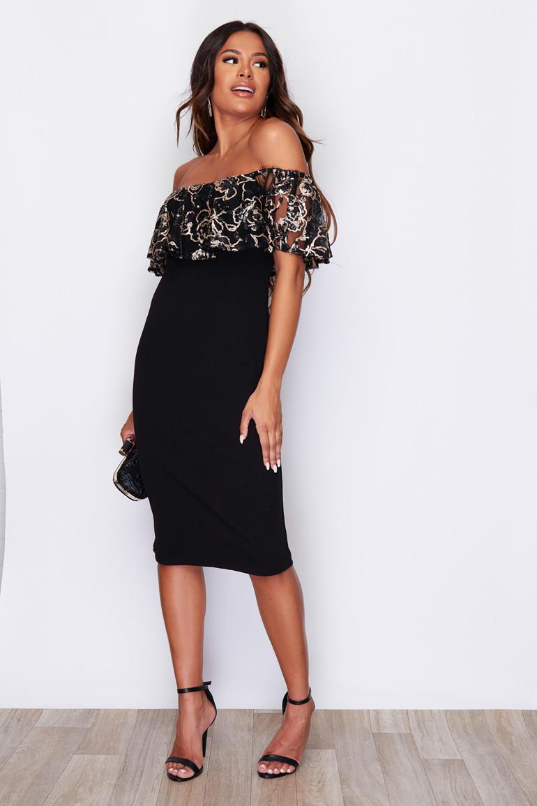 Sukienka Czarna Hiszpanka w Złote Cekiny Midi