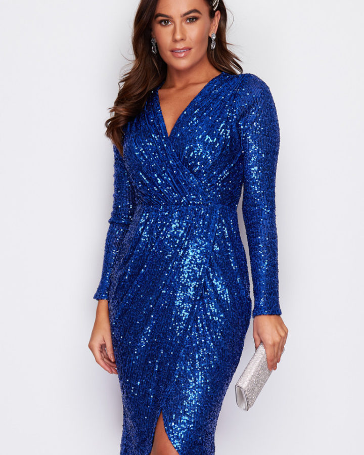 Sukienka Niebieska w Cekiny z Długim Rękawem Midi