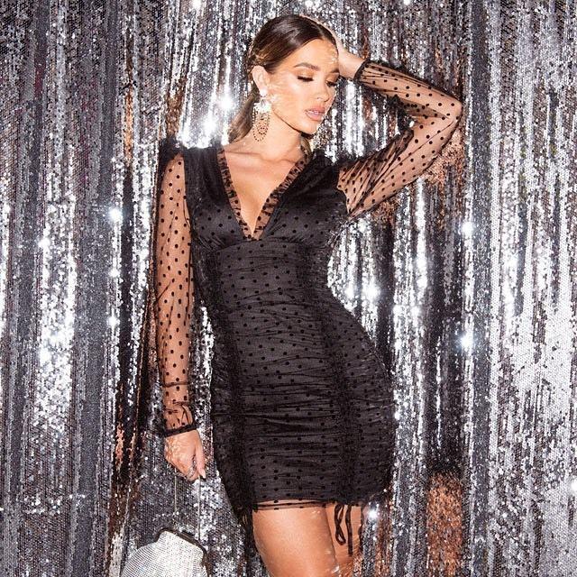 Sukienka Czarna Tiulowa w Kropki z Długim Rękawem Mini