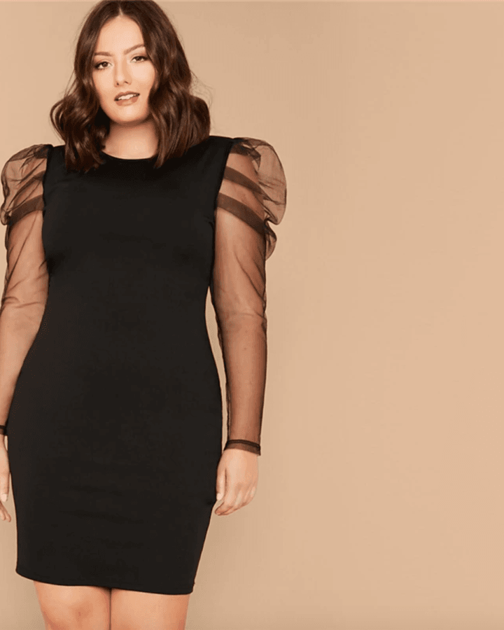 Sukienka Czarna z Bufkami z Długim Rękawem Plus Size Mini