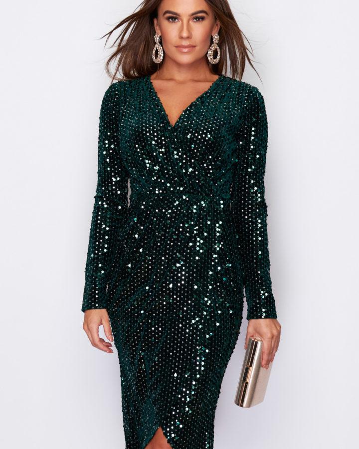 Sukienka Zielona:Szmaragdowa w Cekiny z Długim Rękawem Midi