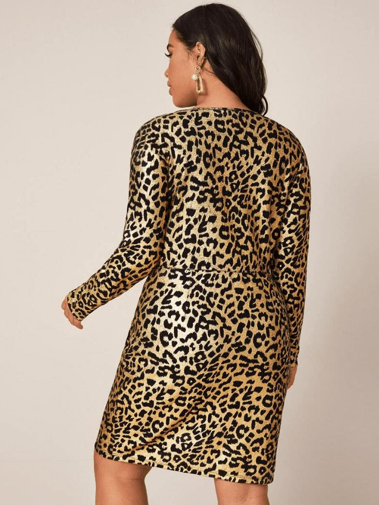 Sukienka Złota w Panterkę z Długim Rękawem Plus Size