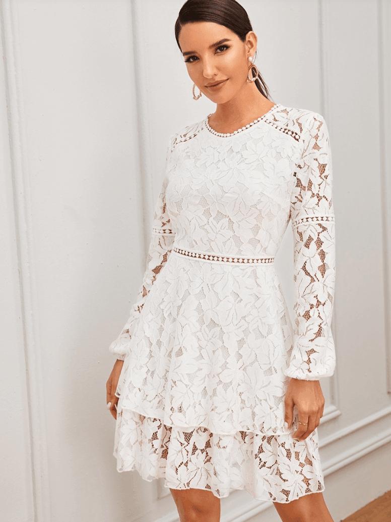 Sukienka Koronkowa Biała z Długim Rękawem Mini