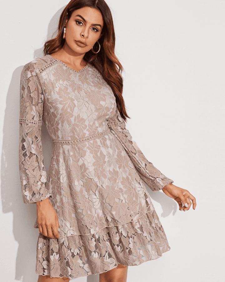 Sukienka Koronkowa Cappuccino:Beż z Długim Rękawem Rozkloszowana Mini