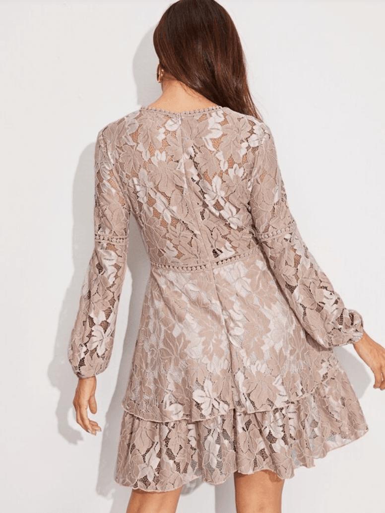 Sukienka Koronkowa Cappuccino:Beż z Długim Rękawem Rozkloszowana Mini_