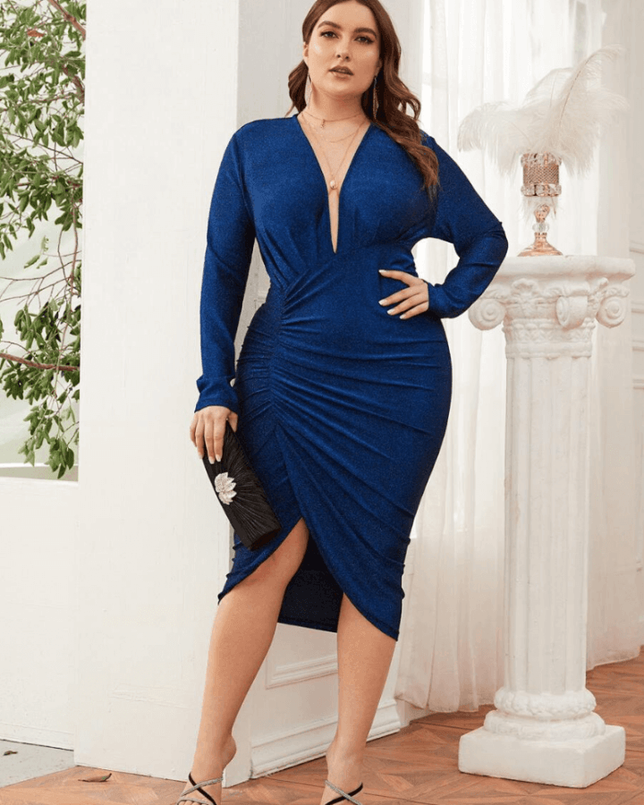 Sukienka Granatowa Koktajlowa z Długim Rękawem Midi_