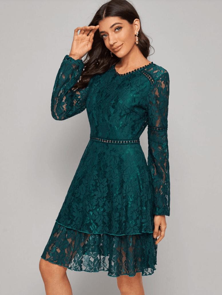 Sukienka Koronkowa Szmaragdowa Zieleń z Długim Rękawem Mini