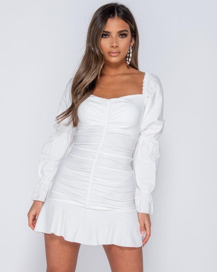 Sukienka Biała z Długim Rękawem Mini