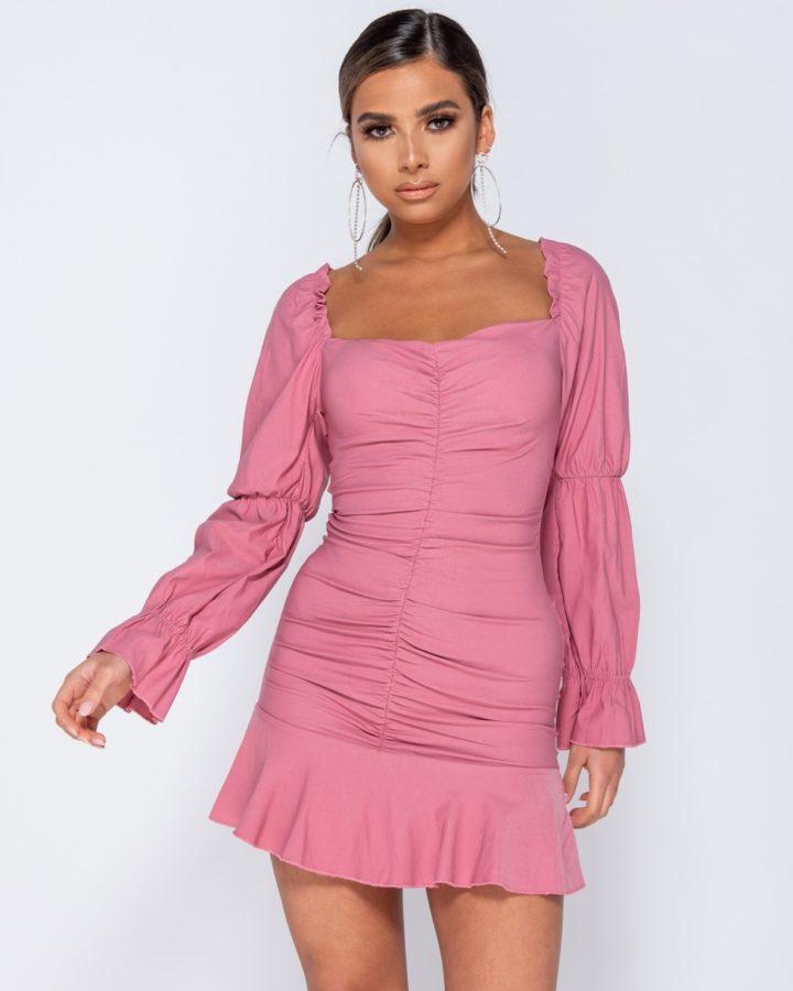 Sukienka Różowa z Długim Rękawem Odsłonięty Dekolt Mini