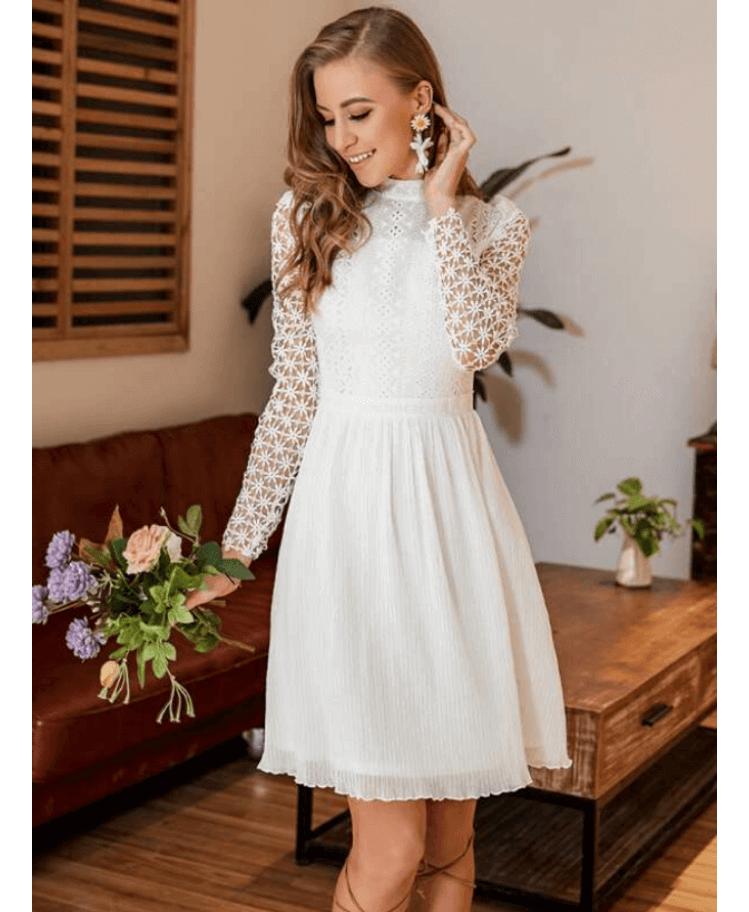 Mouliette Sukienka Biała Koronkowa